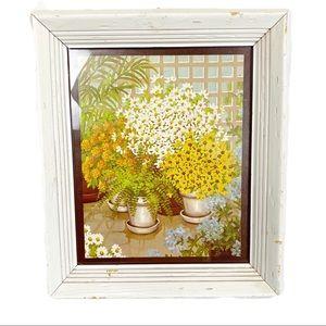 Vintage framed yellow floral & fern D. Saar print